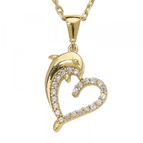Hjärta delfin hängen i förgyllt silver