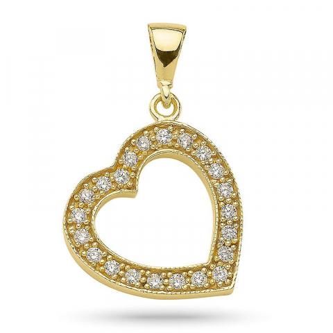 Vackert hjärta hängen i förgyllt silver