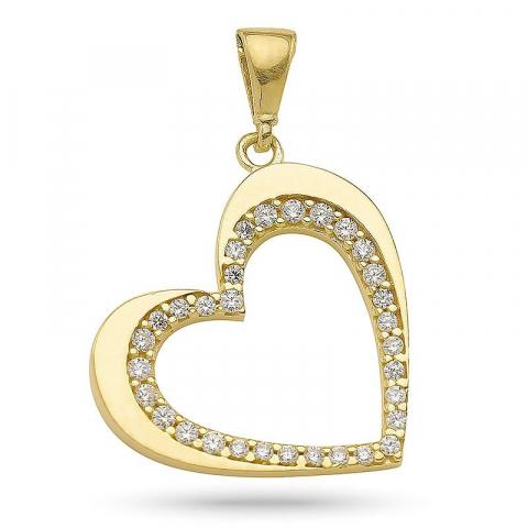 Kollektionsprov hjärta hängen i förgyllt silver