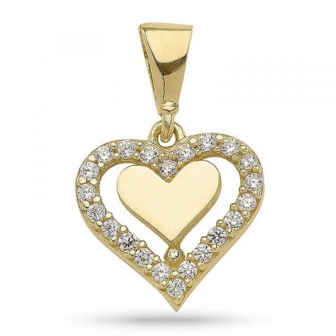 Klassisk hjärta hängen i förgyllt silver