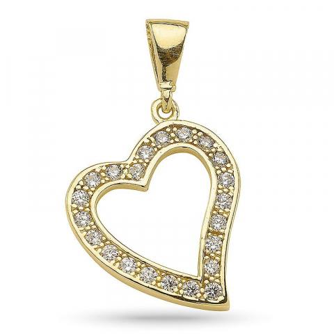 Enkel hjärta hängen i förgyllt silver