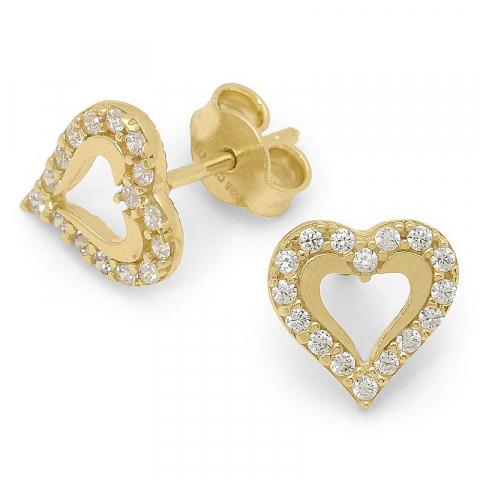Sköna hjärta örhängen i förgyllt silver