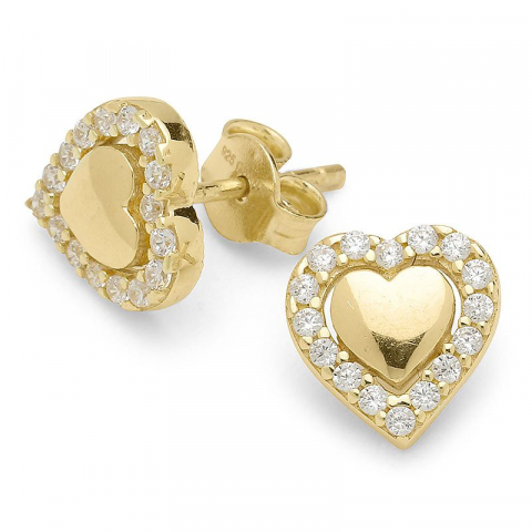 Vackra hjärta örhängen i förgyllt silver