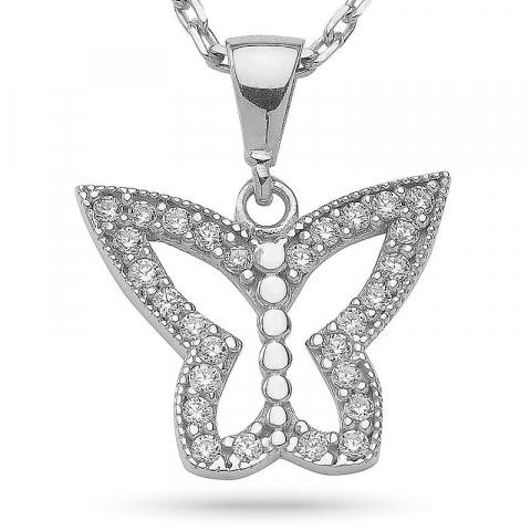 Vackert fjäril zirkon hängen med halskedja i silver