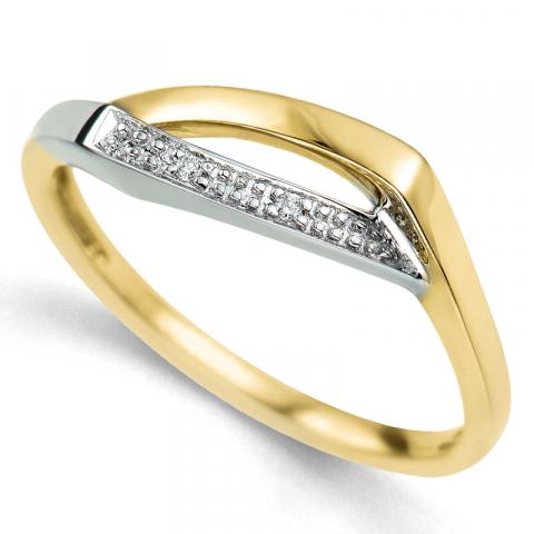Kollektionsprøve diamantring i 9 karat guld.- og hvidguld 0,01 ct