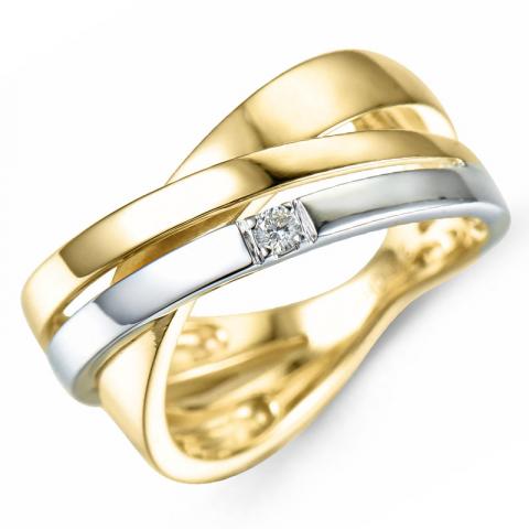 Kollektionsprov diamant guld ring i 9 karat guld- och vitguld 0,03 ct