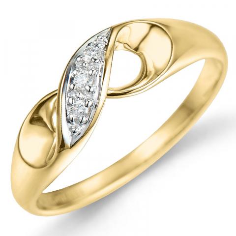 Kollektionsprov diamant ring i 9 karat guld- och vitguld 0,03 ct