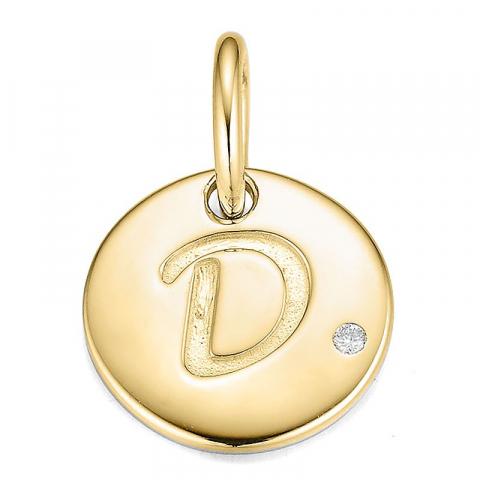 Bokstav d diamant hängen i 9 carat guld 0,01 ct