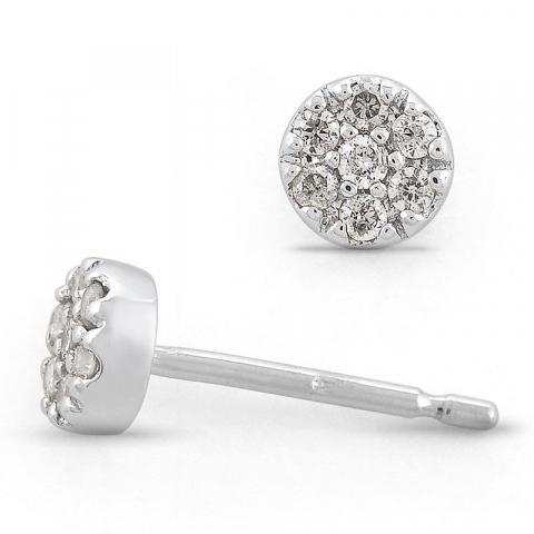Runda diamant örhängestift i 9 karat vitguld med diamanter