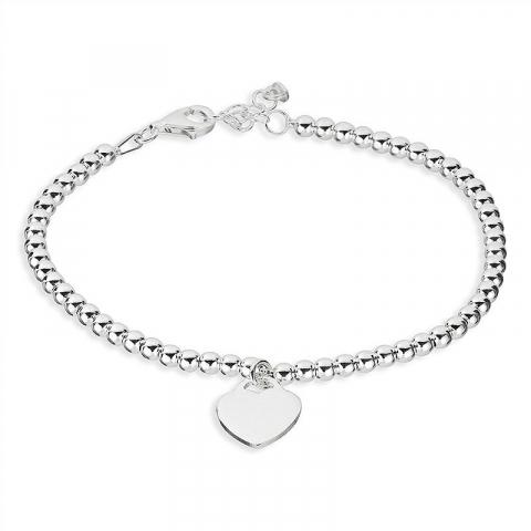 Sött armband i silver med hjärthängen i silver