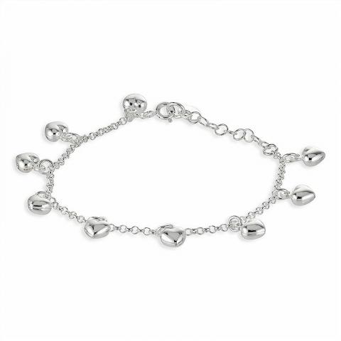 Fint hjärta armband i silver med hjärthängen i silver
