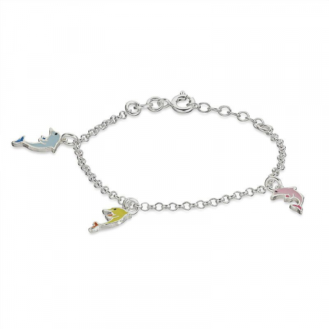 Sött delfin armband i silver