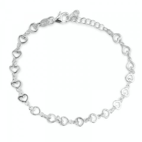 Sött hjärta armband i silver med hjärthängen i silver