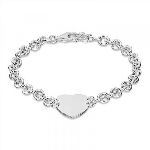 Stort hjärta armband i silver