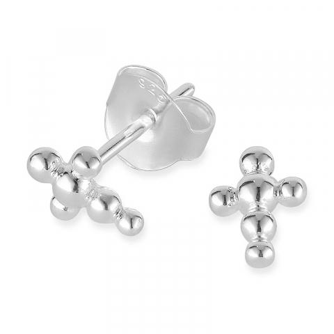 små kors örhängestift i silver