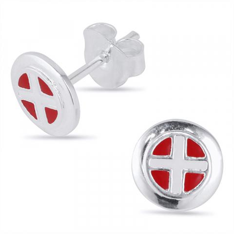 runda flagga örhängestift i silver