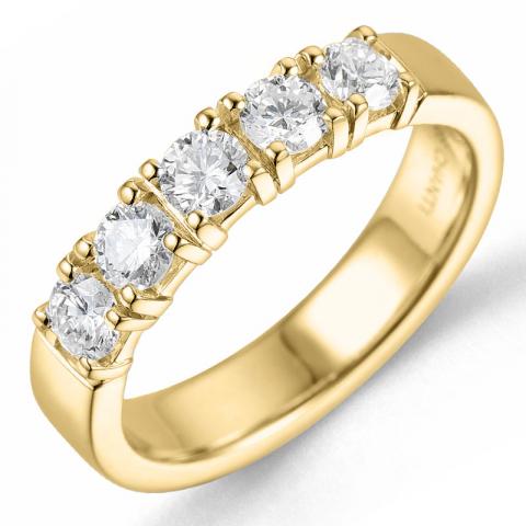 diamant alliancring i 14  karat guld 5 x 0,15 ct