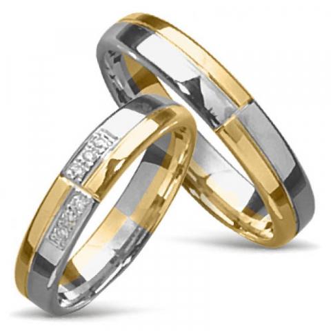 Tvåfärgad sköna vigselsringar i 14  karat guld- och vitguld 0,008 ct - set