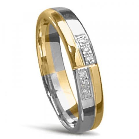 Elegant tvåfärgad Damring i 14  karat guld- och vitguld 0,008 ct