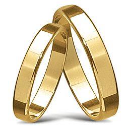 Smala hala vigselsringar i 14  karat guld - set