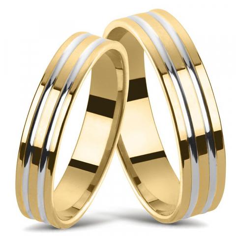 Tvåfärgad vigselsringar i 14  karat guld- och vitguld - set