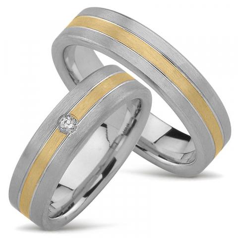 Matta tvåfärgad vigselsringar i 14  karat guld- och vitguld 0,040 ct - set
