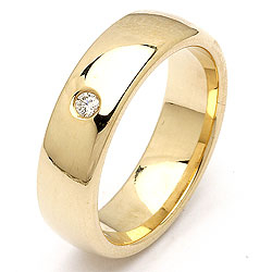 Bred diamant vigselsring i 14  karat guld 0,05 ct