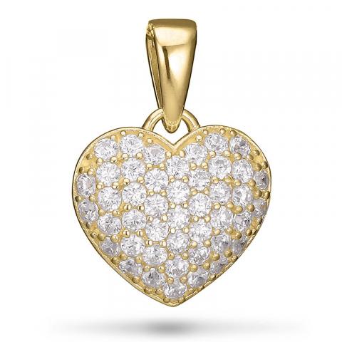 hjerte vedhæng i forgyldt sølv