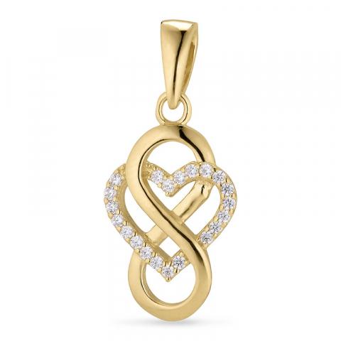 hjärta infinity hängen i förgyllt silver