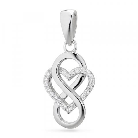 hjärta infinity hängen i silver