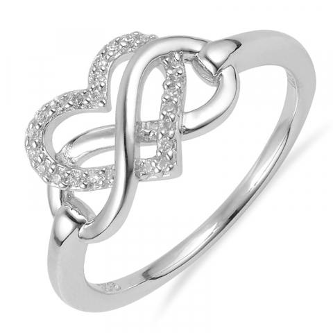 Fin hjärta ring i silver