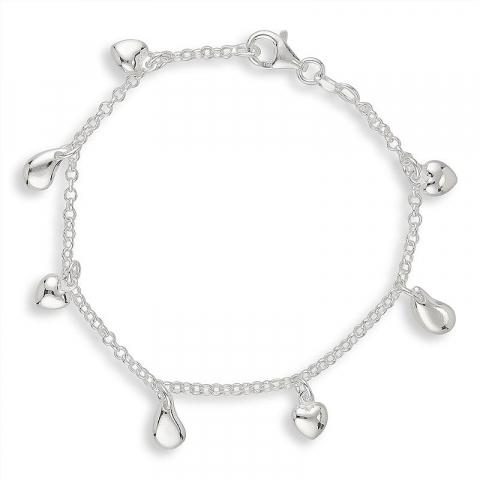 Moderna hjärta armband i silver med hängen i silver
