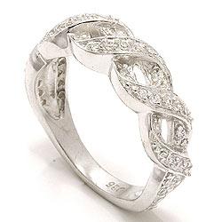 Flätat vit zirkon ring i silver