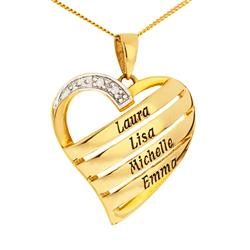 Hjärta namnhalsband i 9 karat guld