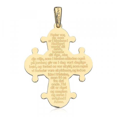 Dagmarkors med fadervår 25 x 30 mm hängen i 14 karat guld