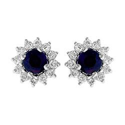 Blå safir örhängestift i 14 karat vitguld med safirer och diamanter