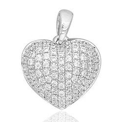 Sött hjärta diamantberlocker i 14  carat vitguld 0,30 ct