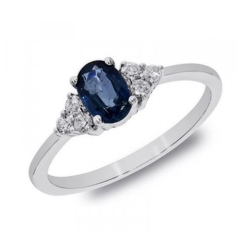 Kollektionsprov blå safir vitguldsring i 14  karat vitguld 0,57 ct 0,13 ct