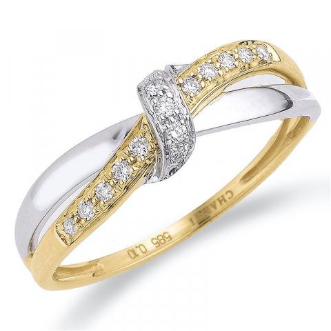 Diamant guld ring i 14  karat guld- och vitguld 0,10 ct