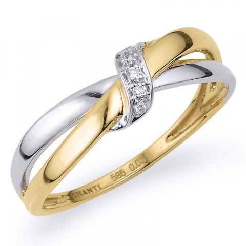 Kollektionsprov abstrakt diamant guld ring i 14  karat guld- och vitguld 0,03 ct