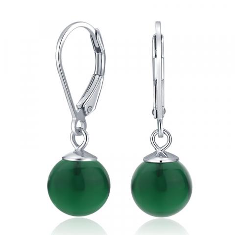 Kula gröna örhängen i silver