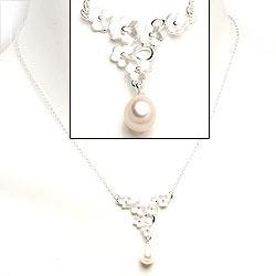 Blommor pärla halsband i silver