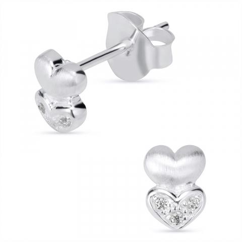 Vackra hjärta örhängestift i silver