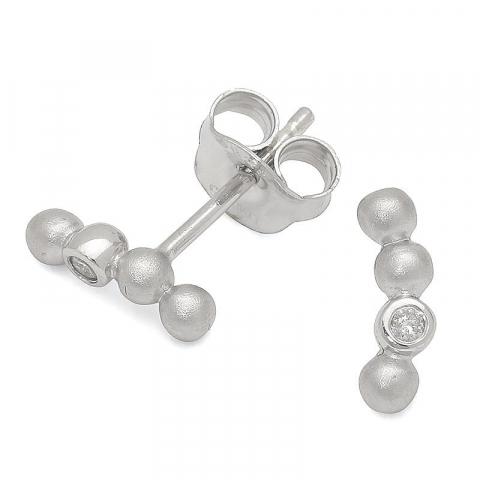 Kula diamant örhängen i silver med diamanter