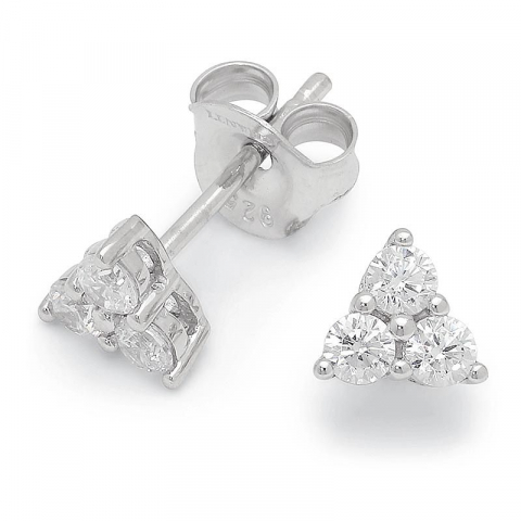 Söta trekantigt zirkon örhängen i silver