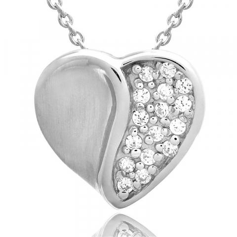 Hjärta set med örhängen och halsband i silver vit zirkon