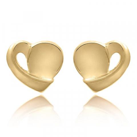 Hjärta set med örhängen och halsband i förgyllt silver