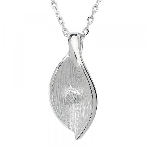 Elegant blad hängen i 925 carat silver 0,02 ct