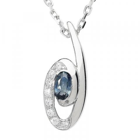 Moderna ovalt safir hängen i silver