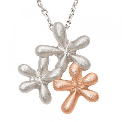 Smart blommor hängen i silver och rosabelagt silver